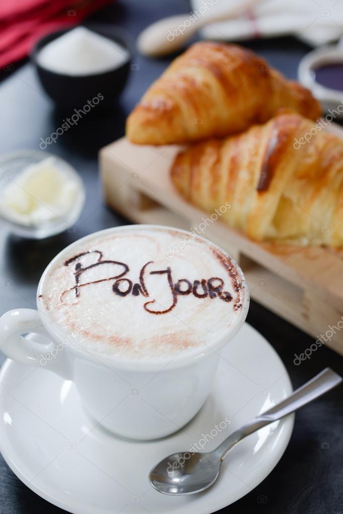 завтрак капучино дизайн бонжур стоковое фото Info