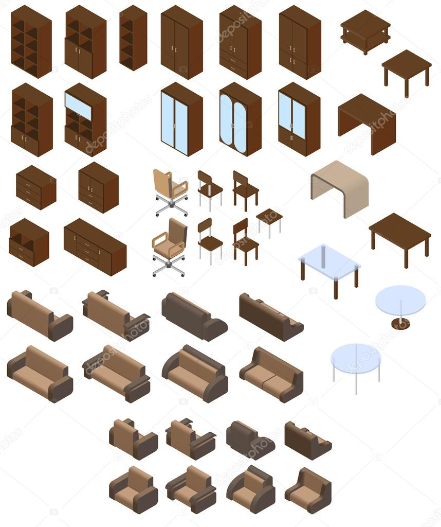 set of isometric furniture � stock vector 169 korolevdmva
