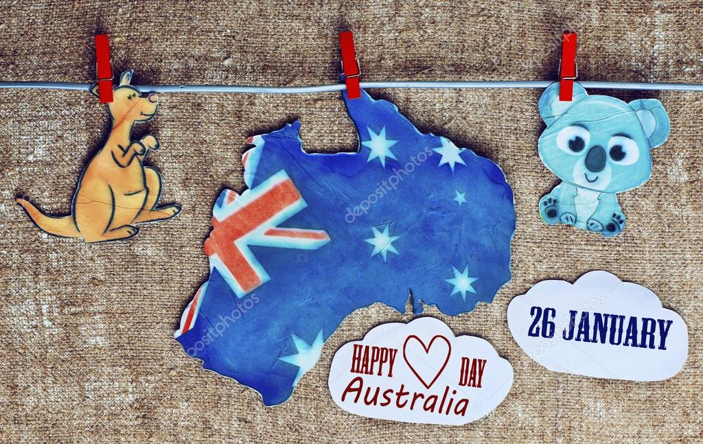 notebook with drawings Australian flag, Gold Coast skyline, came