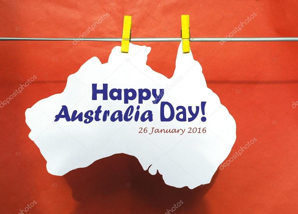 Celebrate australia day holiday on january 26 2016 with a happy celebrate australia day holiday on january 26 2016 with a happy australia day message greeting written across white australian maps red heart and flag m4hsunfo
