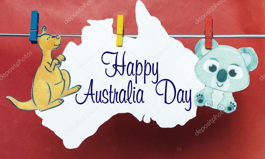 Australia day concept greeting written across white australian australia day concept greeting written across white australian maps kangaroos and koala hanging pegs 26 january toned image sunlight effect photo m4hsunfo