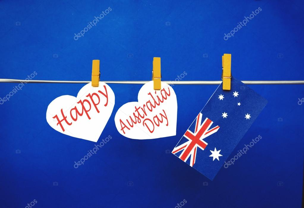 Celebrate australia day holiday on january 26 with a happy message celebrate australia day holiday on january 26 with a happy message greeting written across white hearts m4hsunfo