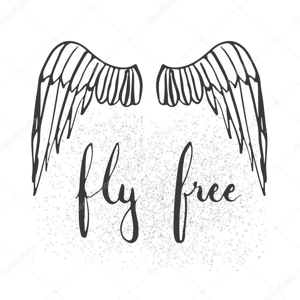 Frase De Rotulação De Tipografia Desenhada Mão Voar Livre Com Asas
