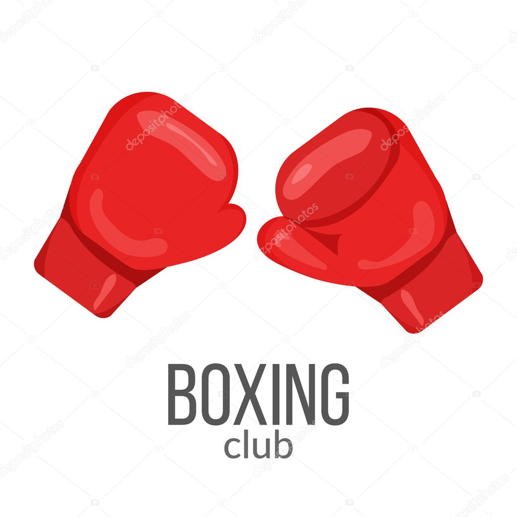 c03312471 Boxing gloves red icon isolated on the white background. Sports ...