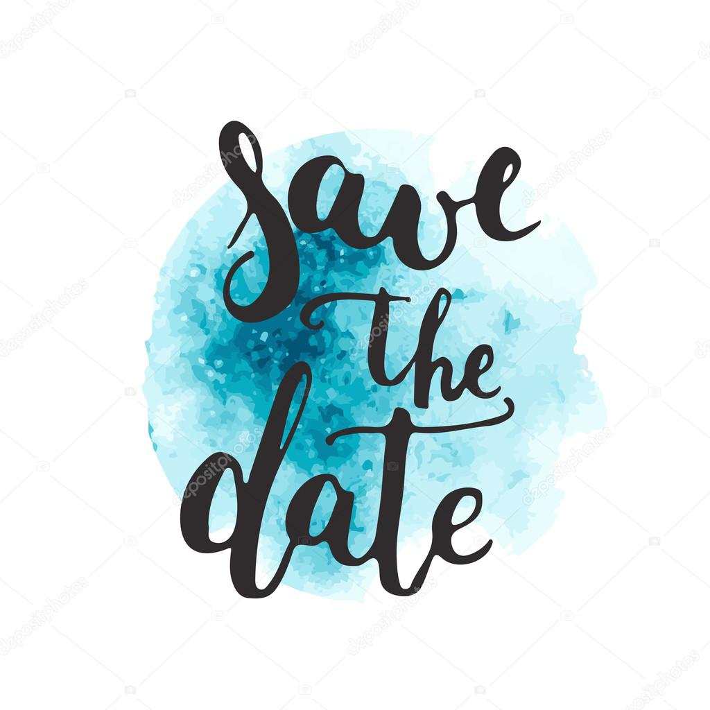 Save the date card template on the watercolor blue background. Hand ...