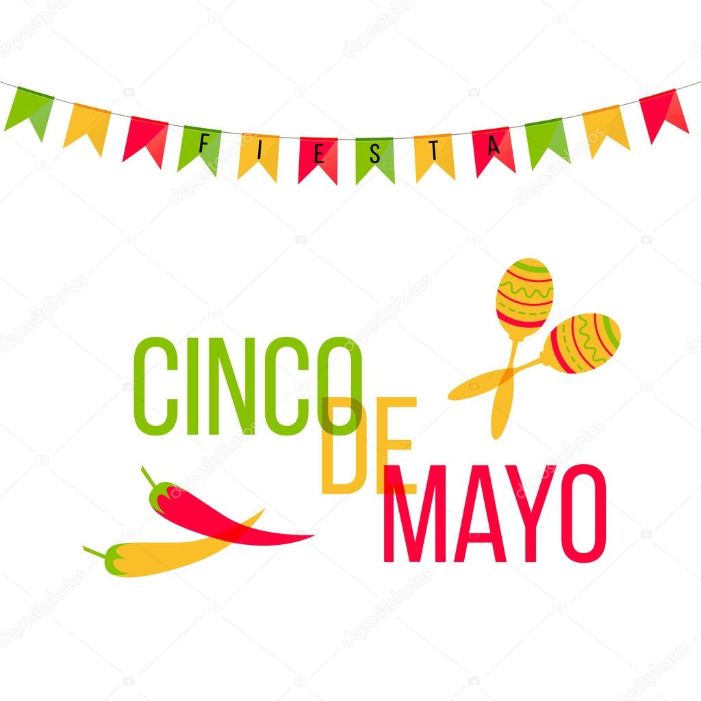 Cinco de mayo mexican greeting card vector illustration with cinco de mayo mexican greeting card vector illustration with colorful flags and phrase fiesta m4hsunfo