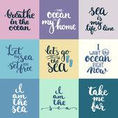 Kézzel rajzolt tipográfiai betűk vámokmányra, tenger, óceán és nyári idő