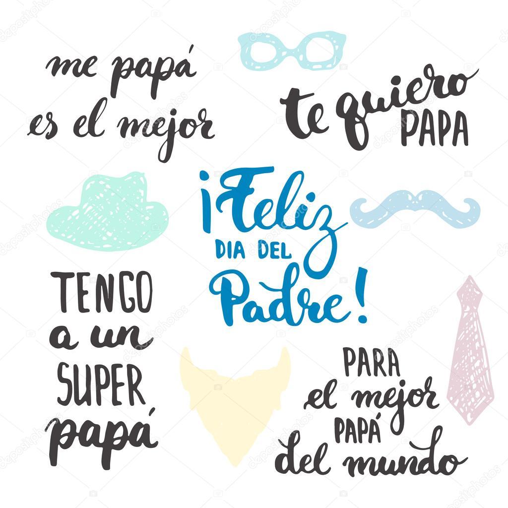 Dia Dos Pais Frases De Caligrafia Da Rotulação Definida Em Espanhol