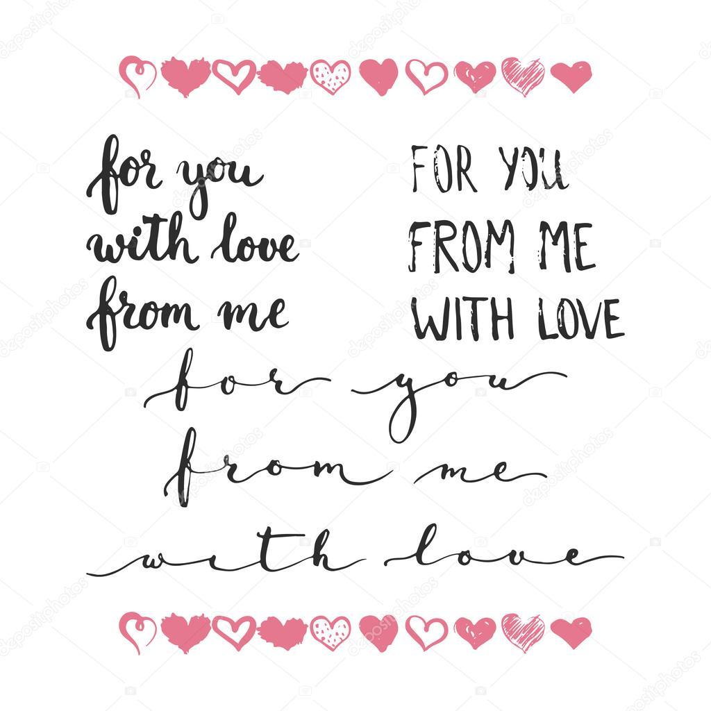 Fotos Frases De Amor Usted Conjunto De Frases De Dibujado A Mano