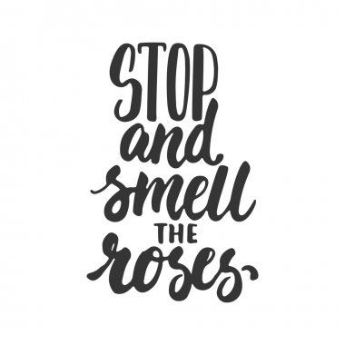Stop and smell the roses - hand drawn lettering phrase isolated on the white background. Fun brush ink inscription for photo overlays, greeting card or t-shirt print, poster design.