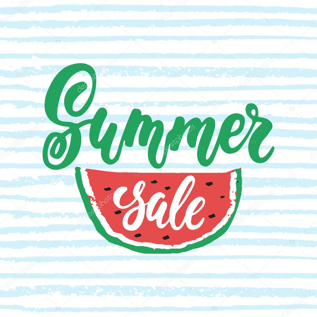 f38559ca91c Summer sale - hand drawn lettering phrase isolated on the striped  background with watermelon. Advertising template for banner