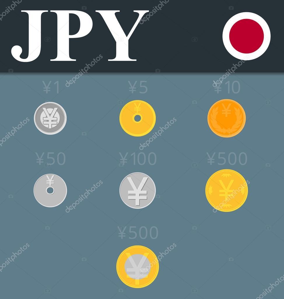 Yen Münzen Satz Vektor Illustration Stockvektor Enxcyandexru