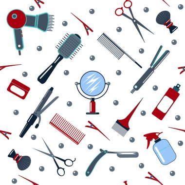 Barber and Hairdresser Tools Seamless Pattern