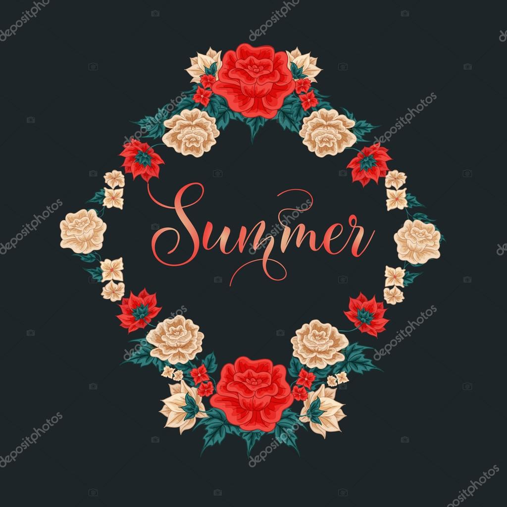 Floral frame red roses summer time white roses greeting card greeting card decoration wreath of flowers wedding decoration valentines day decoration vector illustration vetor por vectorlab junglespirit Gallery