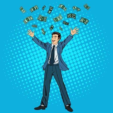 Happy Businessman. Success in Business. Successful Businessman.  Businessman and Money. Man Throwing Money Up. Falling Money. Pop Art Banner. Vector illustration