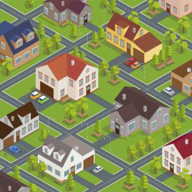 Isometric Cityscape. Isometric Buildings. Isometric Houses. Isometric Cottages. Isometric City. Modern Houses. Isometric Cars. Vector illustration