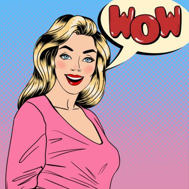 Surprised Woman. Happy Girl. Pin Up Girl. Pretty Blonde. Bubble Wow. Pop Art Banner. Vector illustration