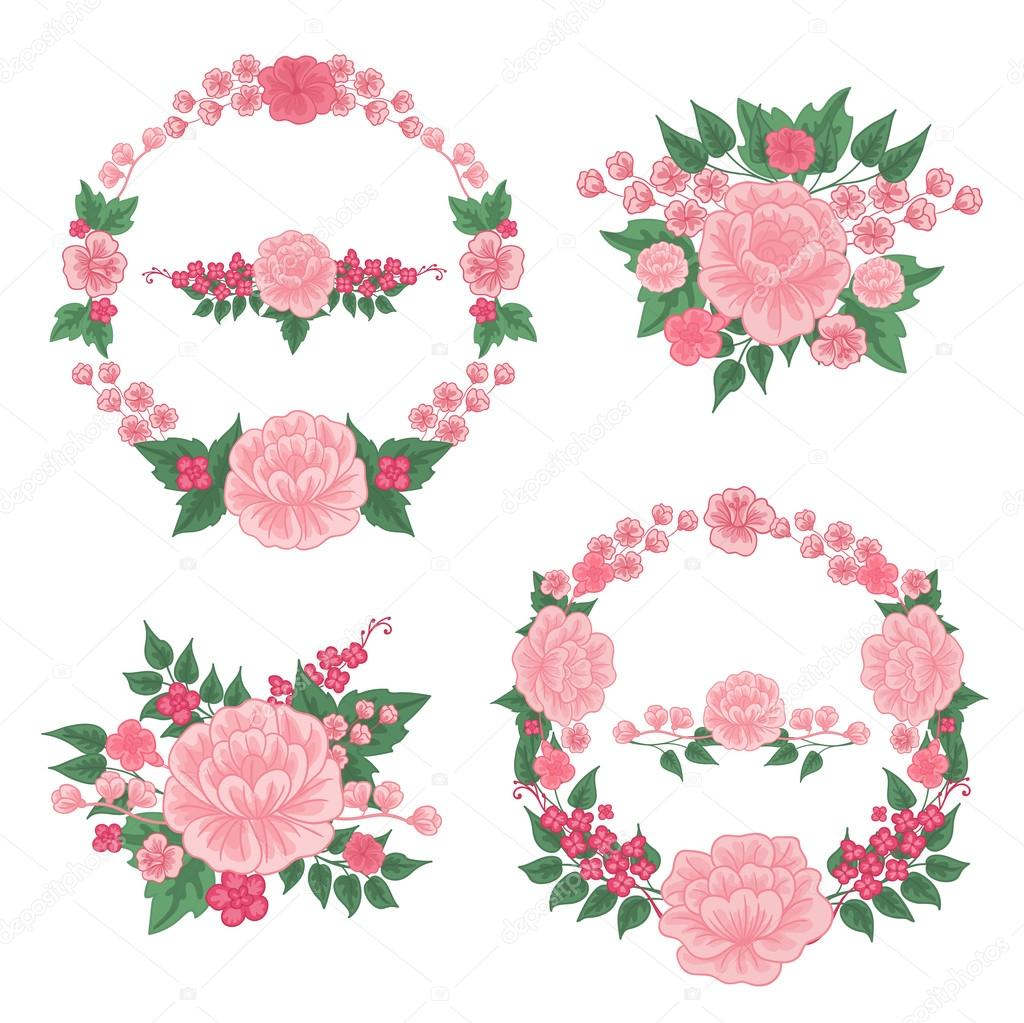 Flowers set floral frames greeting cards decoration wreath of floral frames greeting cards decoration wreath of flowers wedding decoration junglespirit Gallery