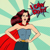 Fotografie Super Woman. Female Hero. Superhero. Girl in Superhero Costume.  Pin Up Girl. Comic Style. Pop Art. Vector illustration