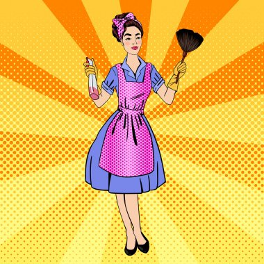 Woman Cleaning the House. Girl Doing House Work. Pin Up Girl. Pop Art. Comic Style. Vector Illustration