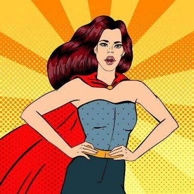 Super Woman. Female Hero. Superhero. Girl in Superhero Costume.  Pin Up Girl. Comic Style. Pop Art. Vector illustration