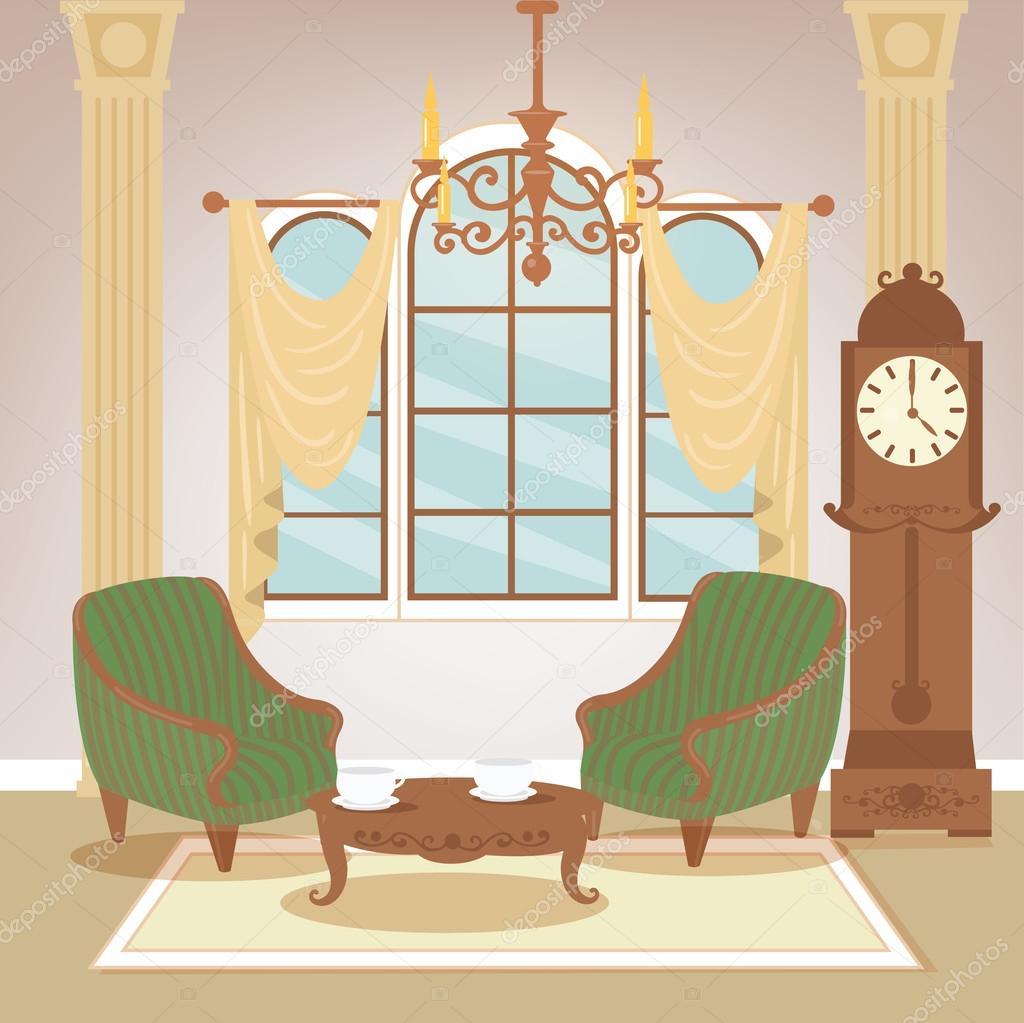 Wohnzimmer. Klassisches Interieur. Vintage Stil. Retro Möbel.  Zimmereinrichtung Mit Vintage