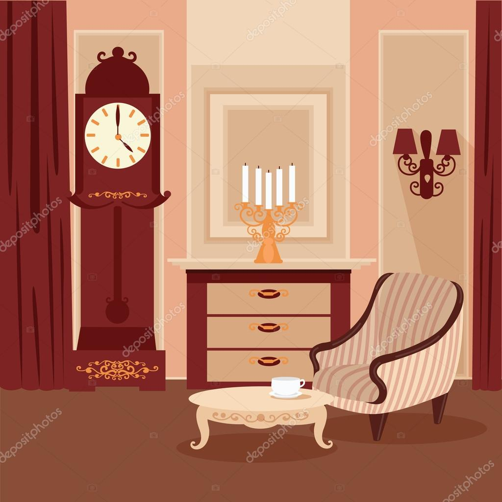 Vintage Living Room Design Living Room Classic Interior Vintage Style Retro Furniture Room Interior With Vintage Candlestick Home Interior Vector Illustration Stock Vector C Vectorlab 105857930