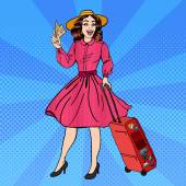 Fotografie Woman with Baggage. Pin Up Girl. Beautiful Girl with Tickets. Time to Travel. Pop Art. Vector illustration