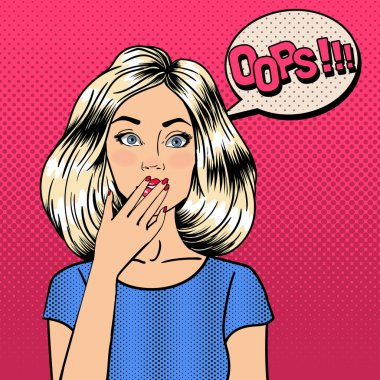 Surprised Woman. Comic Style. Pin Up Girl. Bubble Oops. Pop Art.