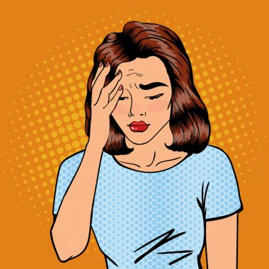 Woman has a Headache. Woman Stress. Exhausted Woman. Pop Art Banner