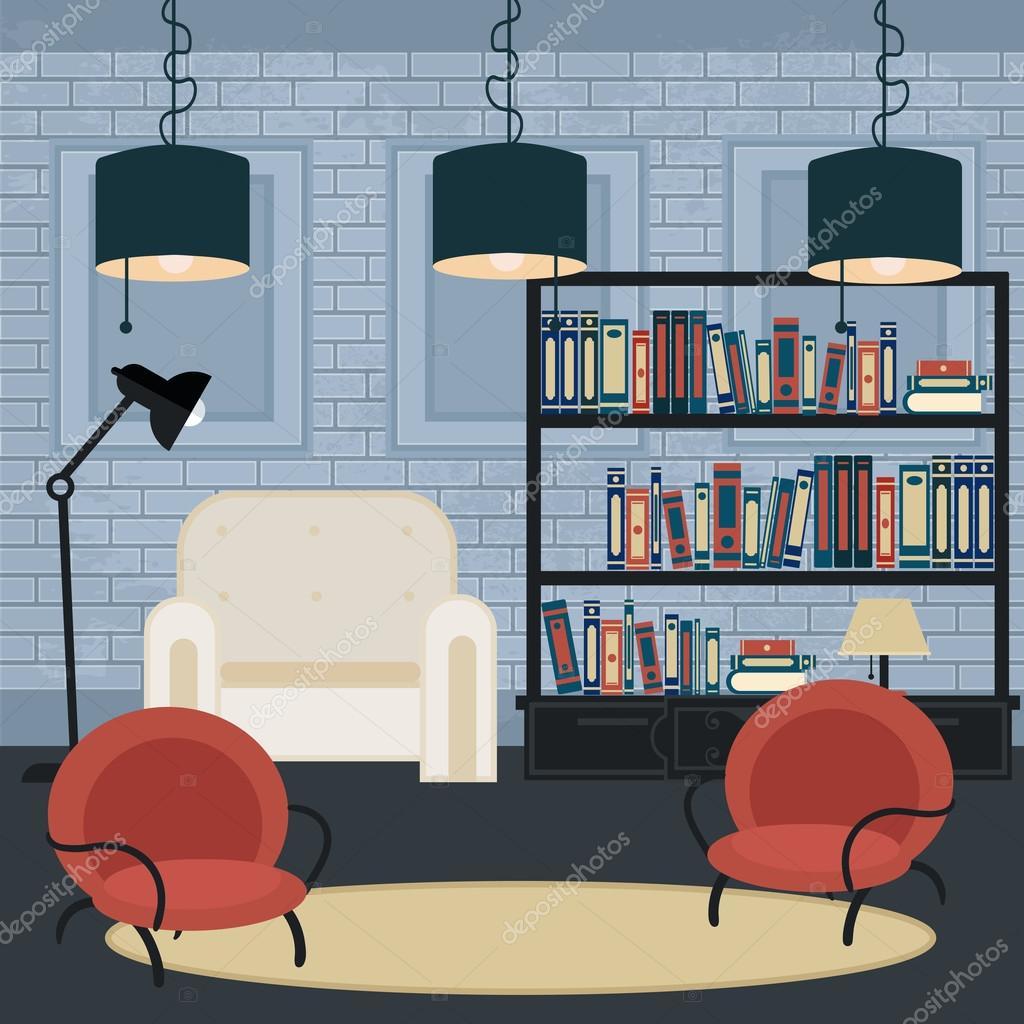 Modernes Interieur. Wohnzimmer im Grunge-Stil. Raumgestaltung mit ...