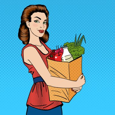 Woman with Shopping Bag. Girl with Groceries Healthy Food. Pop Art. Vector illustration