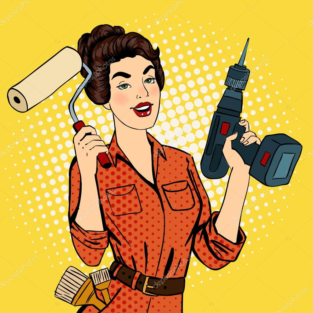 Girl with Roller Brush and Drill. Woman Doing Repairs. Pop Art. Pin Up Girl. Vector illustration