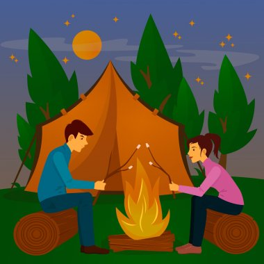 Summer Camp. Man and Woman sitting by Fireplace. Bonfire with Marshmallow. Vector illustration