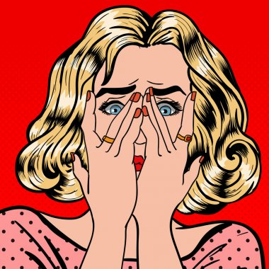Shocked Woman. Woman Closes Eyes with Her Hands. Pop Art. Vector