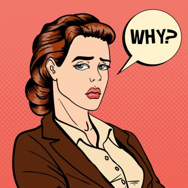 Disappointed Businesswoman. Comic Bubble with Expression. Pop Art