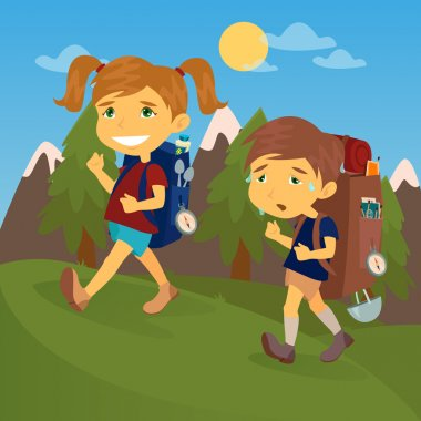Children with Travel Backpacks. Boy and Girl Scout. Tourists Couple. Vector illustration