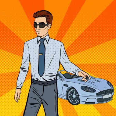 Successful Businessman. Man Holding a Car Key. Pop Art. Vector illustration