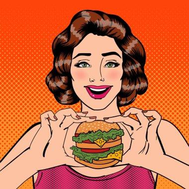 Young Woman Eating Hamburger. Woman Holding Burger. Pop Art. Vector illustration