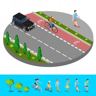 Isometric City. Bike Path with Bicyclist. Footpath with Walking  Man. Vector illustration