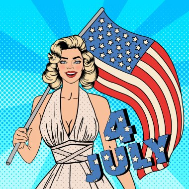 American Independence Day. Beautiful Woman with American Flag. Pop Art. Vector illustration