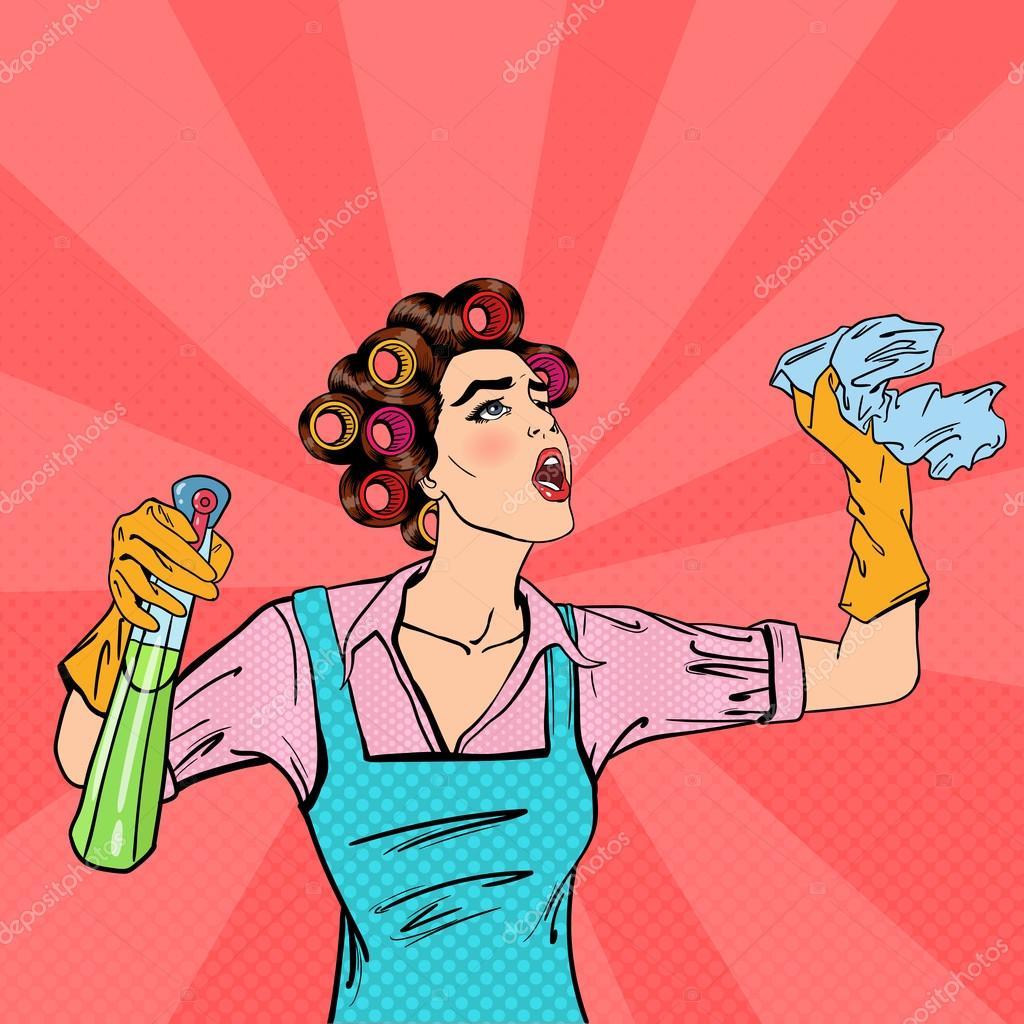 Ama de casa limpieza de la casa con aerosol y trapo — Vector de ...
