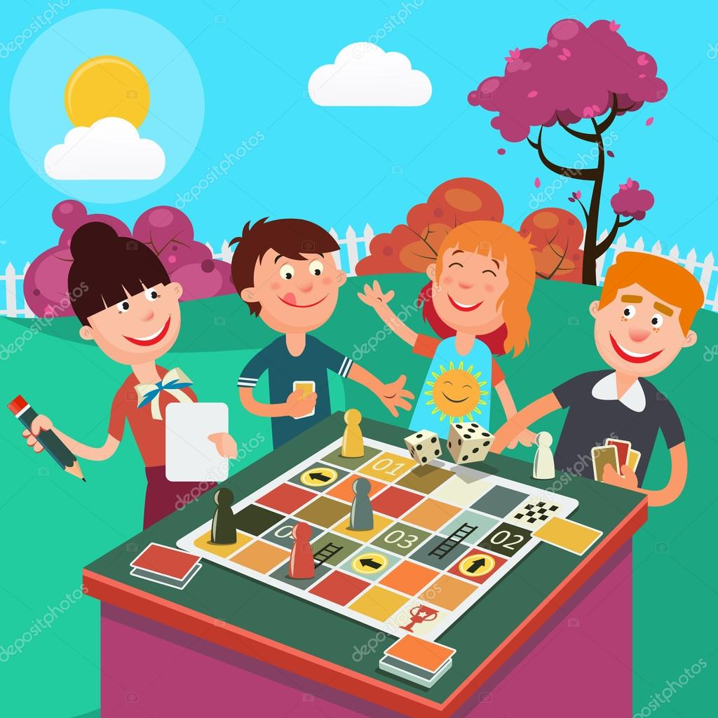 Family Playing Board Game Outdoor Happy Weekend Vector Illustration Stock