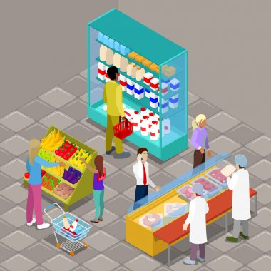 Isometric Supermarket Interior with Buyers and Products