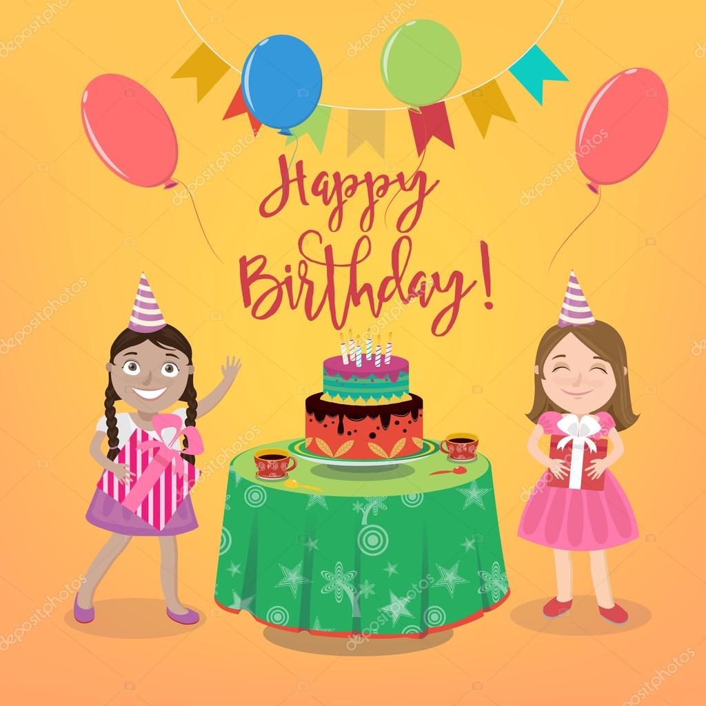 Happy Birthday Greeting Card With Girls And Birthday Cake Vector