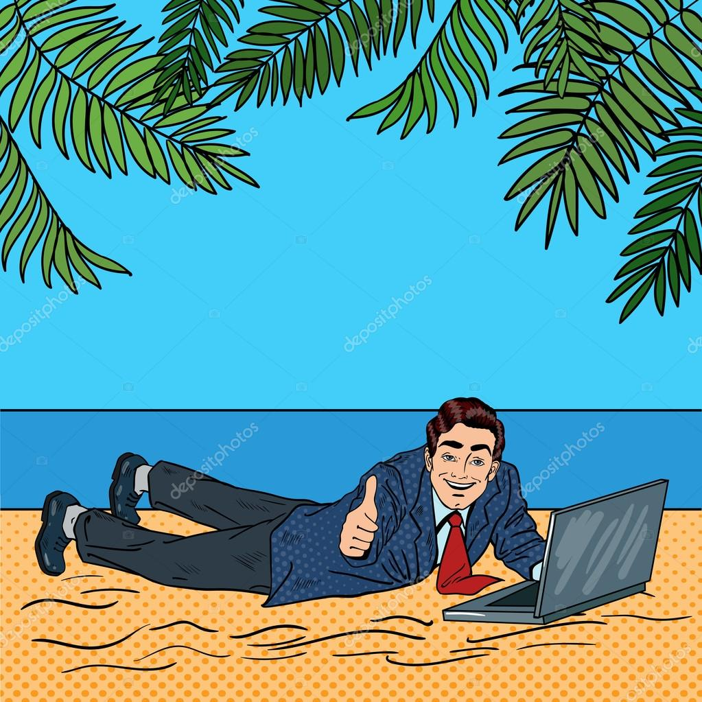 businessman relaxing on the beach man on tropical vacation with laptop pop art vector. Black Bedroom Furniture Sets. Home Design Ideas