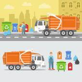 Fényképek Garbage Recycling Set with Truck and Containers. Vector illustration
