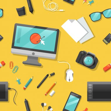 Graphic Design Seamless Pattern with Computer and Digital Tools. Vector background