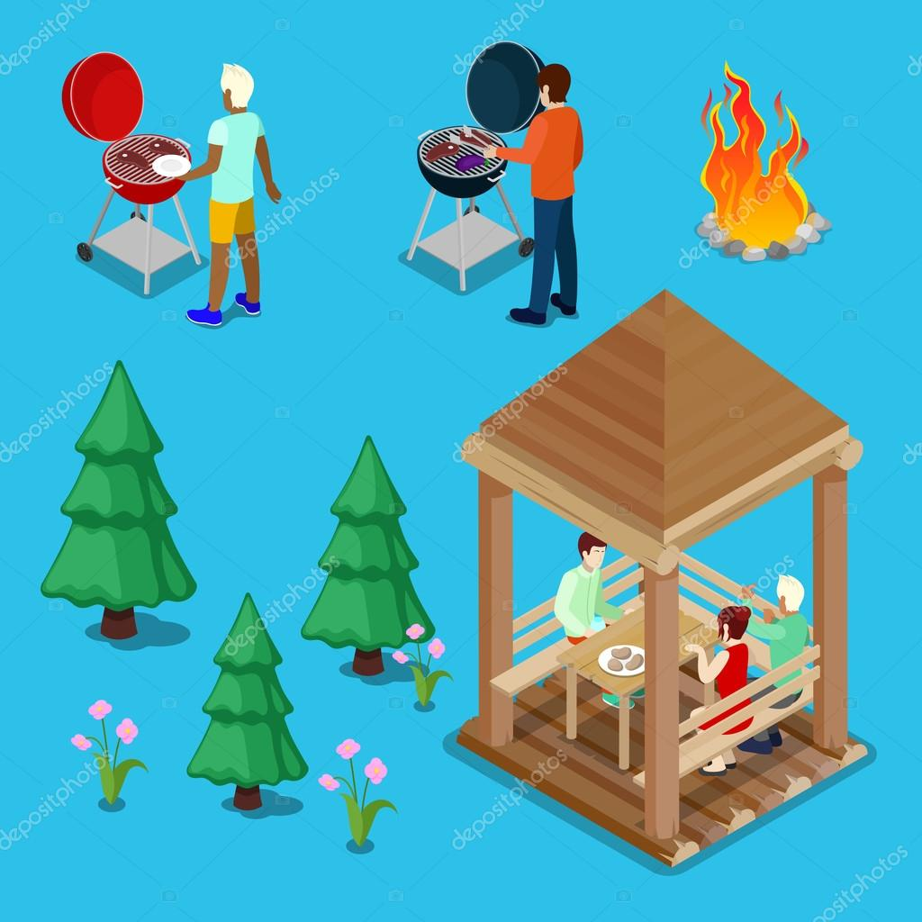 Isometric Family Grill BBQ People Cooking Meat. Vector illustration