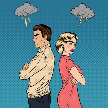 Family Quarrel - Unhappy Young Couple Standing Arms Crossed Back to Back. Pop Art Vector illustration